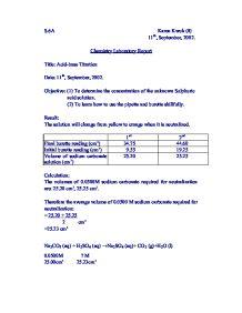 Acid base titration lab report sample.